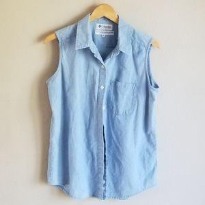 Columbia Vintage Jean Button Up Sleeveless Vest
